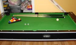 Pool table / air hockey table for sale. Flips and locks in either side. Complete with all cues, balls, hockey stuff.Great condition. $150 OBO. Perfect for a christmas gift.