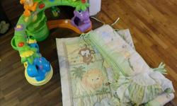 Swing folds up for travel/storage and has settings for swing motion and music $20 Jolly Jumper is NOT THE TYPE FOR A DOORWAY BRAND NEW IN BOX $30.00 sorry no pic.. Crib bedding is Jungle themed in brand new condition. includes fitted