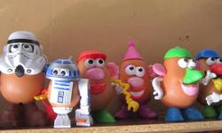 For Sale 9 X Mr,Potato,Darth & R2D2 PotatoHeads `dressed`. Plus at least 40 accessory pieces. Mashed price of only $30.