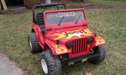 Power Wheels Jeep -worked well the last time my son used it 15 years ago. Been sitting collecting dust since. battery will not hold a charge, so cannot prove it to work. 2 forward speeds, 1 reverse. - $100 Power Wheels Lil Suzuki - worked well the last