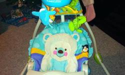 """Reclines so baby can lay back or sit up Mobile moves, plays music and nature/soothing sounds Rocks side to side or back and forth (left or right) Battery operated ----- $70 """"OBO"""" Reply, text/call 780-228-3963 see other ads:)"""