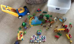 Preschool pack of toys - my kids have out grown them. Duplo safari set with Mom and baby animals, Winnie the pooh and birthday party pieces. Magnetic leap pad letters that sing the alphabet song and the letter sounds. Little Tikes lawnmower that pops when