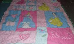 Princess comforter, (toddler bed) pillows and another princess blanket.(twin or throw) 20.00 There is one more pillow its a star, just forgot to put it in the picture
