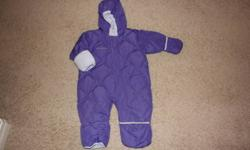 Girls Purple Columbia One Piece Snowsuit size 18 months in good condition. From pet free and smoke free home.
