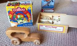 Need new toys? Toys for grandma's house? 3 puzzles for ages 3+ 1 amazing wooden car