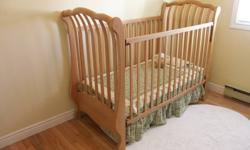 For Sale is our beautiful baby's crib.  Sad to see it go, but it has to go at some point I guess.  It is a high quality crib, well built in all wood construction and is in like new condition. Mattress goes with it, also in great condition.  It really is