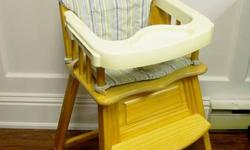 This is a sturdy wooden high chair with a removable cushion & a removable tray, and safety buckle. This is in good used condition. Comes from a smoke free home. Dishwasher-safe insert tray for easy cleaning and feeding 4-position tray with one-hand
