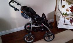 Quinney Freestyle 4 wheeled stroller for sale. Love this stroller but baby #2 is due any day and I need to make room for a double. The stroller is black and grey and comes with the car seat attachment. If you are like me and plan on spending lots of time
