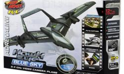 Brand NEW in sealed case R/C Air Hogs Hawk Eye type BLUE SKY Remote control DRONE airplane (just like Air Force) Has TWIN props (1 in each wing) Captures still pictures & records up to 5 minutes of video Has steady fly technology Pictures & Video