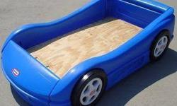 Little Tikes blue race car bed. Posted on other sites. No holds.