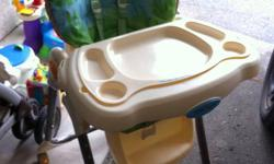 Like new high chair with a five point harness system. Has multiple height settings, comes with a tray that comes on and off for easy cleanup. Comes with an attachment to keep baby occupied while getting there meal ready.
