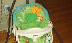 Selling Fisher Price Rainforest Items... Swing $50.00 Jumperoo $50.00 Mobile $15.00 Crib Soother $15.00 Will sell individually at the prices listed above or together for $100. All in great condition, only used for 6 months. Will deliver for a small fee,