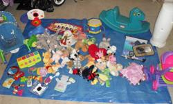 Random infant and toddler toys from smoke free home. Will sell random pieces, but will give a GREAT deal if everything goes at once. This entire lot would be a good collection to buy for yourself ....or leave at the grandparents house, cottage, or the