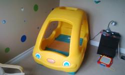 Really cute, durable, sturdy toddler bed. Our boys loved diving through the sunroof. It's a great bed, easy to clean, easy to put together. Holds a crib mattress (we have one here that you are welcome to take, but it has a rip in the cover). Pick up in