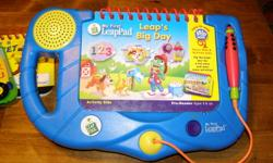 My First Leap Pad ***excellent condition*** Two units available one pink // one blue each have Leaps Big Day book   Five other books available  see pics for titles. **books not sold separately** NEW $ 70.00 for pad each NEW book $30.00 each Now $20.00 per