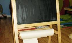 IKEA Mala Easel, gently used, a few minor paint stains, but lots of life left in it.  The Easel has three diferrent ways of creating art, 1) blackboard, 2) dry erase board and 3) with Mala drawing paper, which is purchased separatley, however I still have