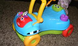 Our daughter loves this toy it helped her learn to walk but she is almost two years old so it is time to pass it on to another little one. It can be used as a ride on toy or can easily be changed to a walker. Perfect condition.