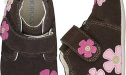"""Robeez Mini Shoez Collection Color: Brown  w/flowers Marigold """"Mini Shoez"""" Size 18-24 Months. $16.00 obo             These happy marigolds are aglow in shades of fuchsia and light pink with lime centres against a brown suede background . Her little feet"""