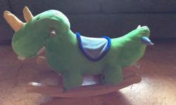 This little rocking Dino is soft so that a little one can hug him, but he has been well built and has survived my 2 boys no problem! He plays 4 different songs about colours, numbers & the alphabet. Batteries still work & he has lots of rock left in him