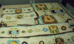 """Comforter never used (only as decoration), versatile bumper pads, and crib sheet.    $85 new, asking $25.   Also have two 50"""" Wide x 84"""" Length animal print window panels.  Asking $10 for both.  (New 19.99 each)."""