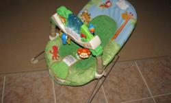 -in excellent condition -plays music and nature sounds -bounces and has vibrate option -baby absolutely loved it! $40 obo