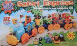 An engaging 'construct and play' toy from 'Learning Resources'. Safari Express Motorised Train Building Set. For ages 4+. Easy to follow instructions. 127 pieces - includes train motor with light and sounds and six playful characters. Compatible with