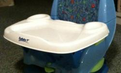 Very gently used feeding/ booster chair. Easily strapped to any kitchen chair. Comes with tray and straps to secure child This ad was posted with the Kijiji Classifieds app.