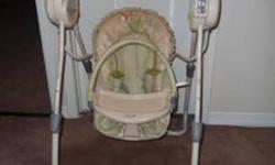 All in one swing, 5 speeds, 5 songs, 5 sounds. Neutral colors, tan light green with cute frogs. Soft, removable toy bar with hanging frogs. Adjustable leg height, and leg width. Hardly used, maybe 3 times. Excellent condition, no rips, tears or stains.