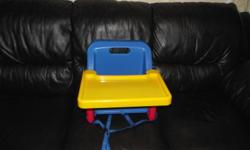 I have a portable high chair for sale it folds up nice and small. This high chair straps to a regular table chair.