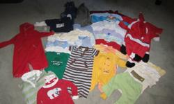 For Sale: 34 pc lot of baby boy clothes, 3-6 months. Very cute items. Delivery/pickup in PG only. Additional pictures available. Inquiries please call Sally at 250-564-1532. ? Parade 2 piece set (onesie and pants) worn twice ? Gymboree 1piece set with
