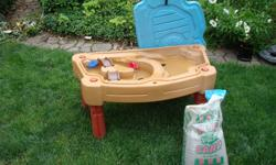 water table with sand, 2 bridges and 2 boats