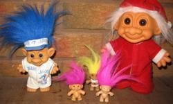 Santa Troll & Blue Jay Troll with 3 small ones