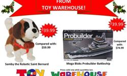 The Toy Warehouse December 2011 e-Flyer is full of great savings, just in time for the holiday shopping season. Come by Toy Warehouse and take advantage of great deals on toys, games, and collectibles. You can save up to 70% off on brand name toys, games