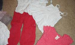 Selling a lot of girls clothing here is the list of items: 1 pr H&M jeggings 1 pr red H&M pants 1 tutu skirt JOE 1 white embrodered skirt (childrens plc) 1 jean skirt (JOE) 1 casual skirt w/ white w/ stars (george) 2 brown t's (old navy) 1 3/4 sleeve