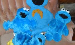 or sale: cookie monster from sesame street. tickle me cookie with new batteries - 35.00 cookie monster large pillow toy - 15.00 SOLD cookie monster soft furry toy with cookie in hand - 20.00 cookie monster knapsack - 15.00 all in wonderful condtion and