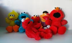 "Used but in really good condition. All of them works well 12"" LOL ELMO $8 16"" TICKLE ME ELMO $8 12"" ERNIE TICKLE ME $8 12"" TICKLE ME COOKIE MONSTER $8 10"" SQUEEZE-A-SONG ELMO $8 12"" TICKLE ME BIG BIRD $8 Call 250 204 677four(4) Some of them are completely"