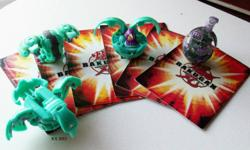 Set of 4 Bakugan with 4 Gate Cards and 2 Ability Cards Robotalion - 400g Ravenoid - 490g Storm Skyress - 540g Dual Hydranoid - 400g See photos for gate cards and ability cards These Bakugan are in excellent condition. Serious inquiries only. Local pick-up