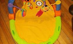 Baby gym $10 Bouncy chair $15 Jolly Jumper $15 Snugli $10 Car seat cozy $5 Breathable bumper pad $7 Bath-Eze tub support $2 Bath tub $15
