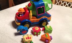 Shape Sorting Concrete Mixer: $10 - Set includes plastic truck and 5 transformable blocks that morph into creatures. - Makes sounds. - From a smoke free home. - In excellent condition.