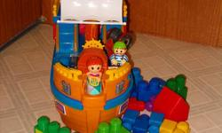 ship pirate mega block musical and sounds push along with wheels, extra 35 mega bloks and sleeping and eating quarters . the ship can be taking a apart pieces