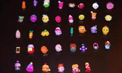 38 Shopkins Figures for $0.75 each or $20 for the lot . The bottom row in the photo shows the exclusives (6). All in great condition from a smoke-free, pet-free home.