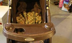Used condition--Mechanically excellent condition Some staining, no rips in fabric, some sponge missing from parent handle and scrapes on the front plastic tray from infant carseat and bumping around(all pictured).  This won't let me put a picture of the