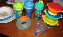 I have three Playtex sippy cups that do not leak. A funky Boone sippy that also does not leak and is easy to hold. A Munchkin snack holder where a child can reach in and get a snack but the contents will not fall out. There is a set of three bowls with