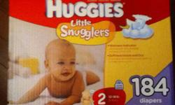 For sale an unopened 184 pack of size 2 Little Snugglers Diapers from Huggies. Our kid has grown up to fast and won't use these. Box retails for $36, for sale for $27. Email if interested This ad was posted with the Kijiji Classifieds app.