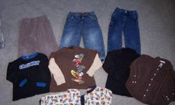 Boys Size 5 Clothing. One lot is 3 Outfits and a pair of P.J.'s. The Second lot is 3 Outfits, an Osh Kosh Sweater and a pair of P.J.' s. Each Lot is $20.00 NO Worn Knees. Clothes are in Great Shape and Clean. Please see my other ads for more sizes. Smoke