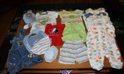 This is a Great steal!!!! 0-3 Months- 18 Items 6 Mos- 34 Items 9-12 Mos- 41 Items 12 Mos-20 Items 18 Mos- over 20 Items Disney,some Brand New, Sears, Please Mum, Levis,Nevada, BabyBell,Sweet treasures,Rascals, Just Born, This is a TERRIFIC DEAL!!!! All in