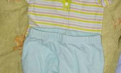 0-3 months Osh gosh, Carters and Baby V casual outfits or sleepers from a smoke free home. 3 for 10 dollars The outfits were barely worn as my son grew to fast and could not get proper wear from them Smoke free home.
