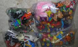 "Small Mixed Toys. I have 6 lots with 1 lot of 17 to 51 toys from $5.00 to $10.00 a lot. Mostly in freezer bags. In very good condition. ITS A HOUSE NUMBER SO DO NOT TEXT. """"DO NOT"""" CALL BEFORE 8 am. OR AFTER 9:00 pm. CASH ONLY. PICKUP ONLY VIEW MAP for"