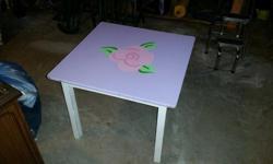 "Cute painted table 25"" � 25"" � 20"" Pick-up only Lake Bonavista"