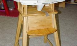 In excellent condition. This high chair looks great in a dinning room as it is solid wood. Cleans easily. Can use with or without seat pad, we used without most of the time to make it easier to clean. Tray adjusts nicely and has cup holders. This is a